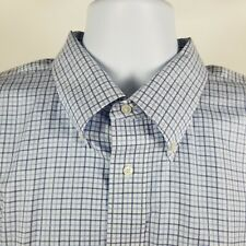 Nordstrom Wrinkle Free Traditional Fit Blue Check Dress Button Shirt Sz 18.5/34