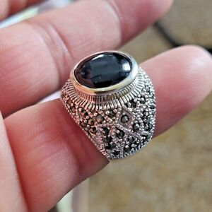 BLACK ONYX MARCASITE 925 STERLING SILVER FABULOUS CHARMING RING 12.65 GM 8 SIZE