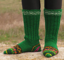 WOOL Hand knitted unisex socks Boutique handcrafted leg warmers Multicolored