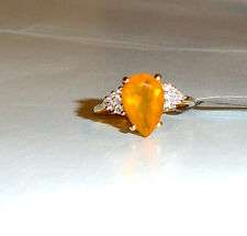 10K Yellow Gold Golden Fire Opal Pear Solitaire & W Zircon Ring, Size 8, 2.49TCW
