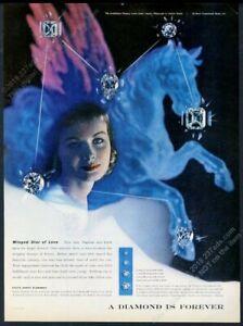 1956 Pegasus flying horse Herbert Matter photo art De Beers diamonds print ad