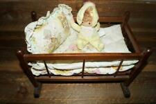 Vintage Wooden Doll Bed / Cradle with Hollie Hobby Mattress, Quilt & Pillow