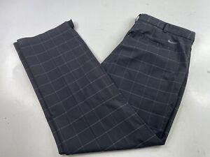 Nike Golf Tour Performance Pants Dri Fit Flat Plaid Black/Gray Men's 38 x 32