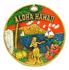 Vintage 3D Wall Art TIKI Hula Girl Hibiscus Sailboat Hawaiian Souvenir Japan