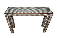 Indian Mughal Design Wood & Bone Inlay Console Table