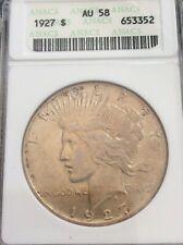 1927 Peace Silver Dollar $1 Coin ANACS AU-58 Better Coin