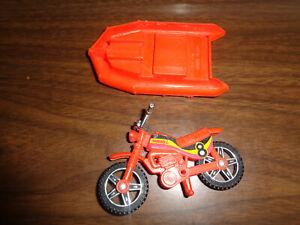Vintage Buddy L lot Orange Plastic Toy Motorcycle Dirt Bike & raft boat