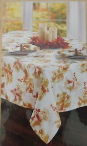 "NEW 60"" Round Designer Rustic Berries Autumn Fall Fabric Table Cloth with 4 Matc"