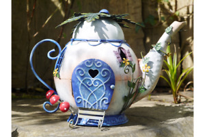 RUSTIC STYLE HAND PAINTED METAL FAIRY TEAPOT HOUSE GARDEN ORNAMENT GIFT