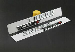 2x TURBO Chrome Briefe Kofferraum Emblem Aufkleber 4MATIC + TURBO 3D