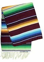 SERAPE Mexican Blanket - MULTI BURGUNDY - SOUTHWESTERN 5' x 7' Falsa Throw