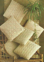 "Aran Cushion Knitting Patterns in 6 designs 14"" square  618"