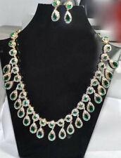 Natural Rose Cut Diamond Polki & Tsavorite 18k Gold Sterling Silver Necklace Set