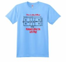 """Pickleball Ink """"This is My Office"""" Large T-Shirt Blue Preshrunk Cotton"""