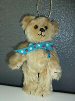 """Artist Tan Teddy Bear Ornament - Bears by Christine - 6"""" Jointed Mohair"""
