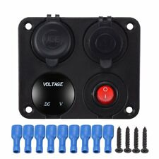 12V 4in1 Digital Panel Boat Car Accessories Voltage Gauge LED Switch Cigar Plug