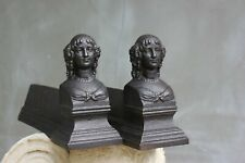 Vintage French fire Iron Andirons Cast Iron Fire Dogs Figurative Chenets fire