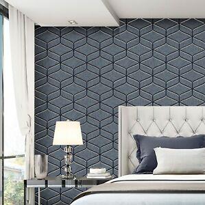Feature Wall Wallpaper Italian Heavy Duty Geometric Navy Blue Grey Silver Stone