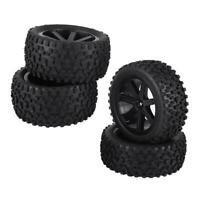 4X 1/10 RC Truck Rubber Tire Wheel Tyre for ZD Racing Buggy Crawler Car Black