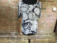 Kin by John Lewis black & white print Top blouse  Floral size 12