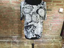 Kin by John Lewis black & white print Top/blouse  Floral size 12