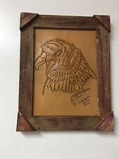 "HAND TOOLED LEATHER ART,EAGLE FACE,FRAMED,10""X8"",HAND CRAFTED DECOR,ART,WALL #2"