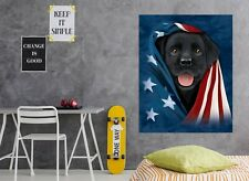 3D Dog Flag USA D103 Wall Stickers Wall Mural Decals Vincent Angelia