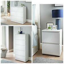 Gloss White Chest of Drawer Bedroom Furniture Hallway Tall Wide Storage Bedside