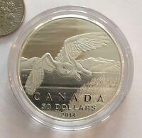 2014 Canada $50 Fine .9999 Silver Coin - SNOWY OWL 1/2 Oz pure silver proof !