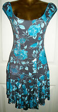 GREY AQUA FLORAL SILVER GYPSY DRESS SIZE 10 JANE NORMAN CRUISE WEDDING HOLIDAY