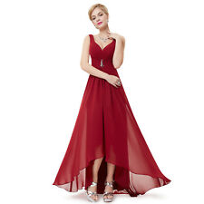 EP High Low Elegant Wedding Evening Party Maxi Dress 09983 Size 4 Burgundy 18