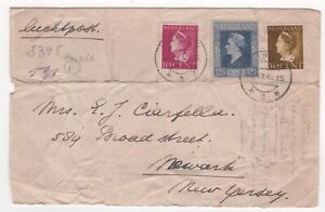 1946 NETHERLANDS Air Mail Cover VELP to NEWARK NJ USA