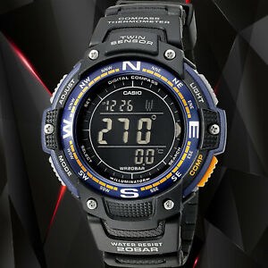 Casio SGW-100-2B Twin Sensor COMPASS Watch Thermometer World Time 200M WR New