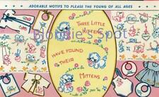 50s Embroidery 286 Three Little Kittens have lost their mittens motifs for Baby