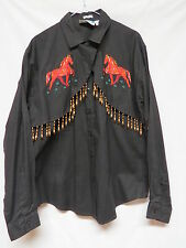 Vintage Southwest Canyon Black Western Shirt w Horse Embroidery & Beads - Size L