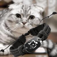 Love Cat Black Vegan Leather Adjustable Kitten Bracelet Free Shipping USA Seller