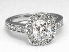 1.30 CTW Cushion Diamond Vintage Halo Engagement Ring Diamond Band