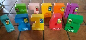 Vintage 1994 Sesame Street Numbers Tyco Jumbo Stacking Plastic Blocks 1-10