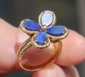 18K 750 SOLID YELLOW GOLD 4-PETAL LAPIS LAZULI FLOWER CHARMING RING '1990S