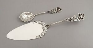 German .800 Solid Silver Cake Server & Sugar Spoon with Hildesheimer Rose decor
