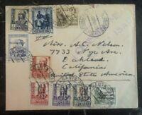 1939 Santa Isabel Spain Civil War Censored Cover To Oakland Ca USA