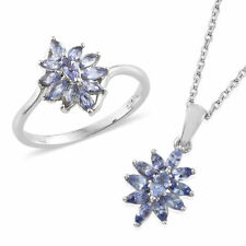 Tanzanite Ring (Size 5) and Pendant Necklace (20 in) in Platinum Over SS