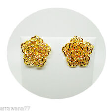 22K 23K 24K THAI  BAHT YELLOW GOLD GP FLOWER EARRINGS JEWELRY E200