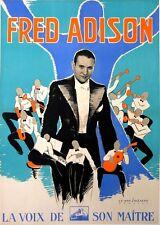 VAN CAULAERT AFFICHE ANCIENNE FRED ADISON LA VOIX DE SON MAITRE MUSIC HALL 1938