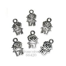 B186// LOT 6 BRELOQUES CHARMS PERLES / PERSONNAGE 16mm