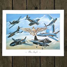 Vintage Original Old BLUE ANGELS USA NAVY Fighter Planes Poster Print NOS 1980s