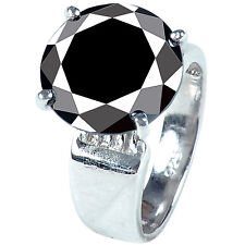 925 Sterling Silver Engagement Ring 5.15+Ct Black Moissanite Solitaire Diamond