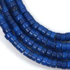"4mm Turquoise Heishi Rondelle Beads 16""  -  Cobalt / Indigo Blue"