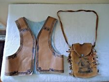 "Vintage Childrens Toy Cowboy Vest And Leather Carry Pouch "" GREAT COLLECTIBLES"