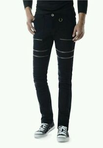 TheLEEs Men's Slim Stretchy Flat Front Zipper Deco Cotton Pants, Sz. LG